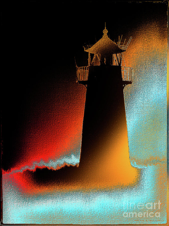 Lighthouse Funky Silhouetted Digital Art