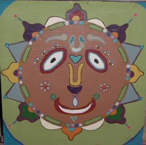 Sun Face Painting - Funky Sun Face by John Durham