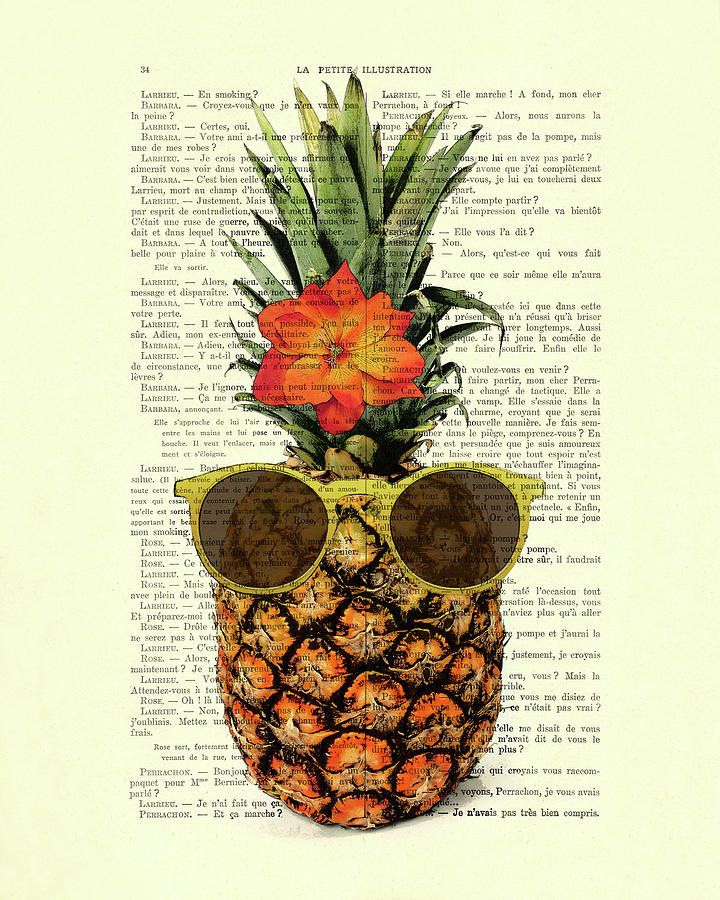 Humour Digital Art - Funny And Cute Pineapple Art by Madame Memento