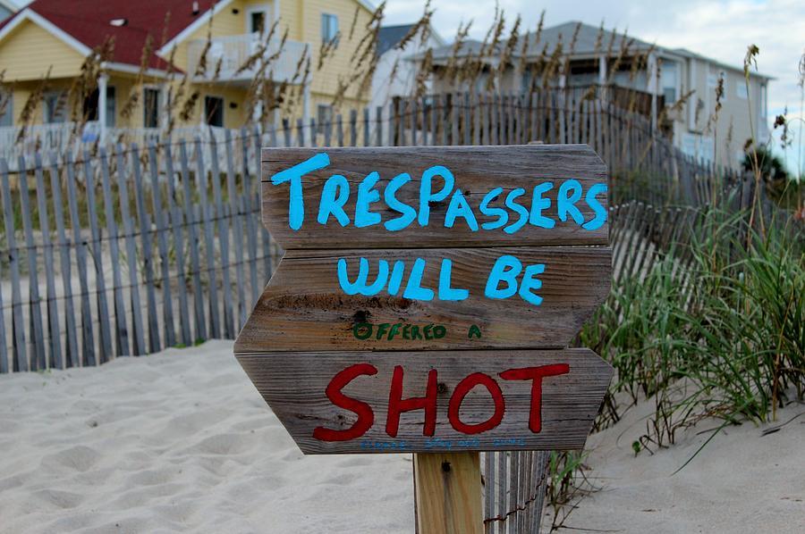 Sign Photograph - Funny Beach Sign by Cynthia Guinn