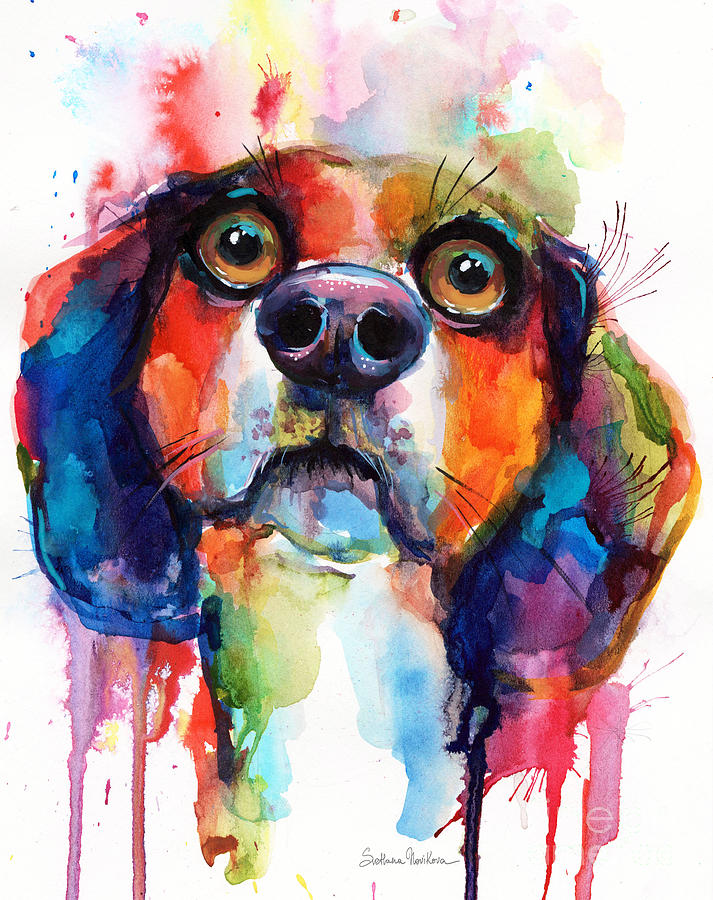 Funny Beagle dog art by Svetlana Novikova