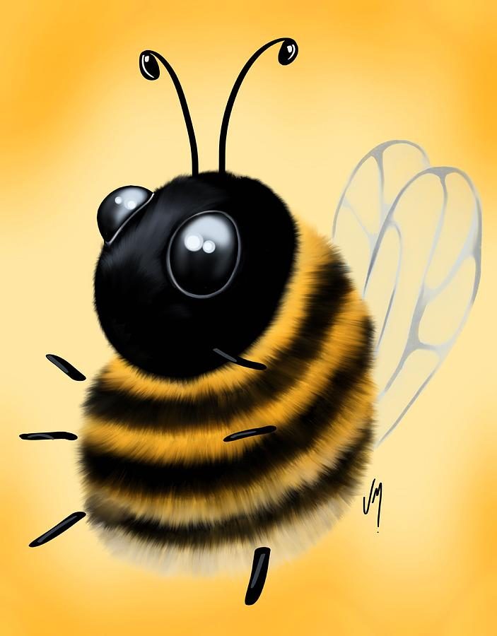 Funny Bee Painting By Veronica Minozzi