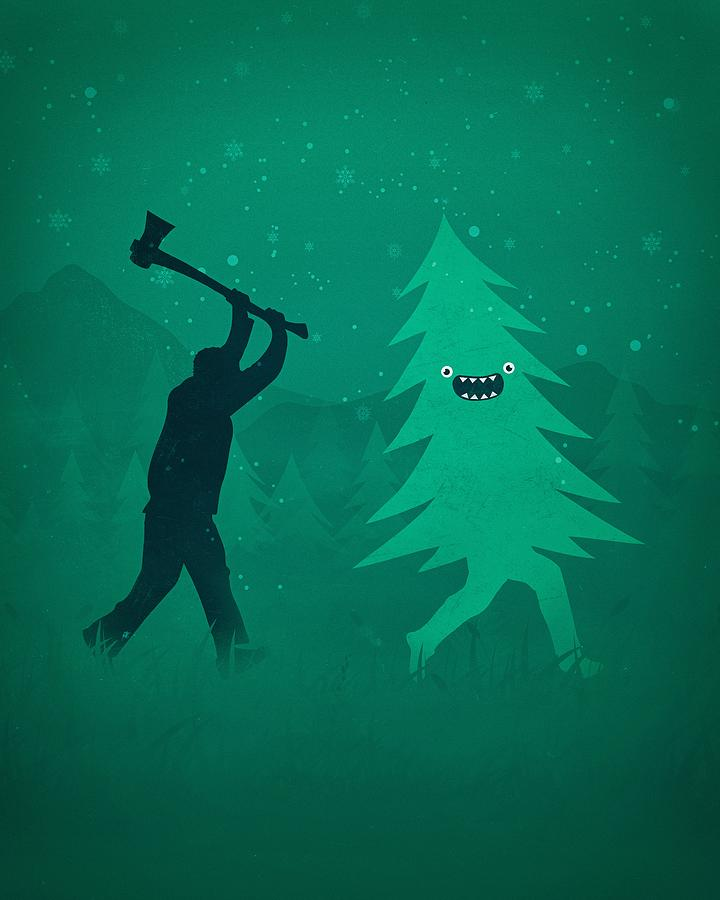 Funny Cartoon Christmas Tree Is Chased By Lumberjack Run Forrest Run Digital Art