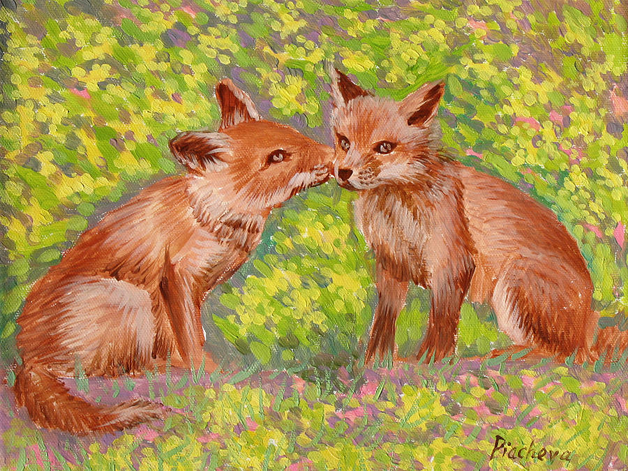 Animals Painting - Funny Foxes .2007 by Natalia Piacheva