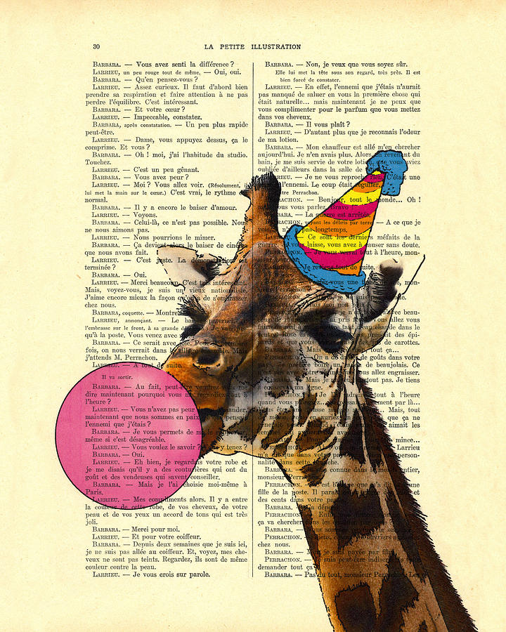 Giraffe Digital Art - Funny Giraffe, Dictionary Art by Madame Memento