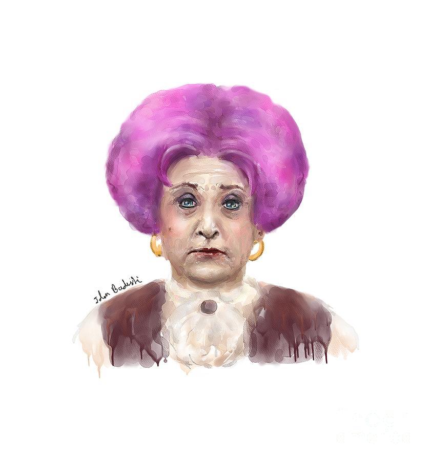 Funny Digital Art Funny Looking Old Lady With Crazy Pink Wig By Idan Badishi