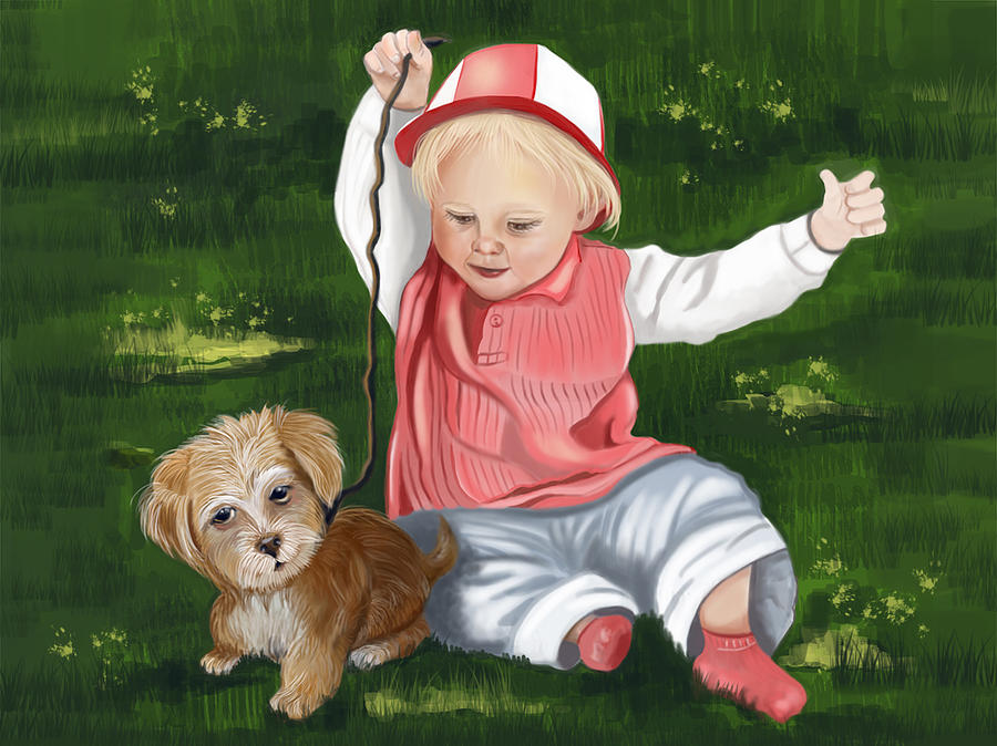 Child Digital Art - Funny Moments by Fatima Stamato