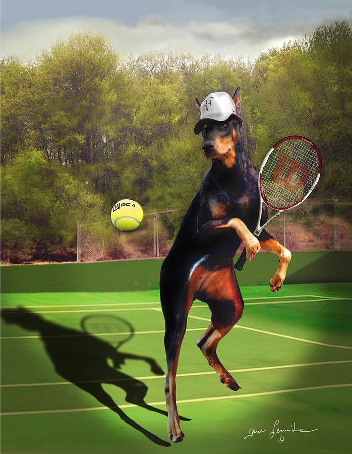 funny pet scene tennis playing Doberman Painting
