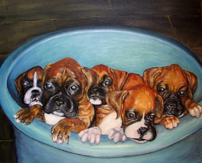Oil Painting - Funny Puppies orginal oil painting by Natalja Picugina