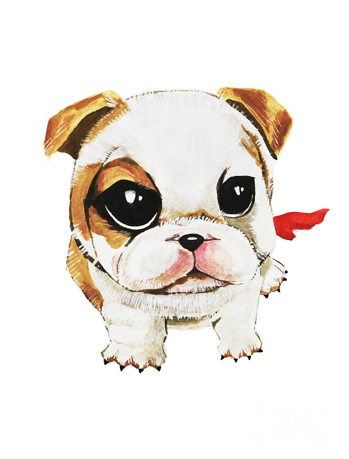 Animal Painting - Funny Puppy Hand Painted Watercolor  by Rasirote Buakeeree