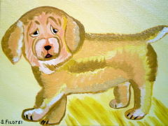 Pet Portraits Painting - Funny Puppy by Suzanne Filotei