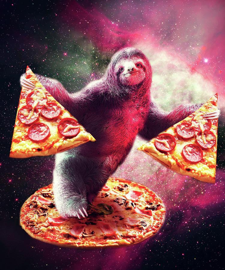 Sloth Digital Art - Funny Space Sloth With Pizza by Random Galaxy