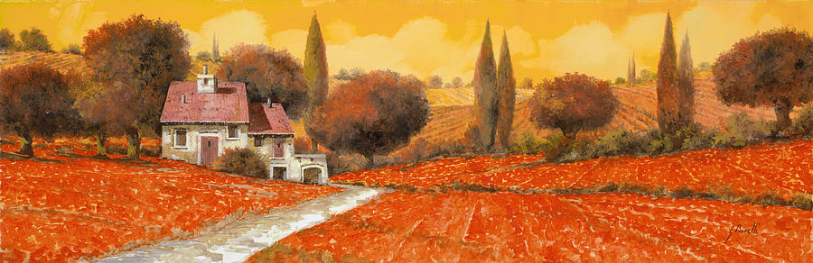 Tuscany Painting - fuoco di Toscana by Guido Borelli