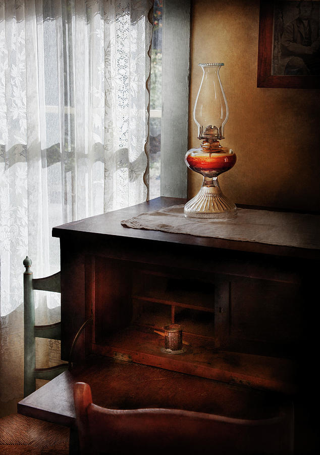 Hdr Photograph - Furniture - Lamp - I Used To Write Letters  by Mike Savad