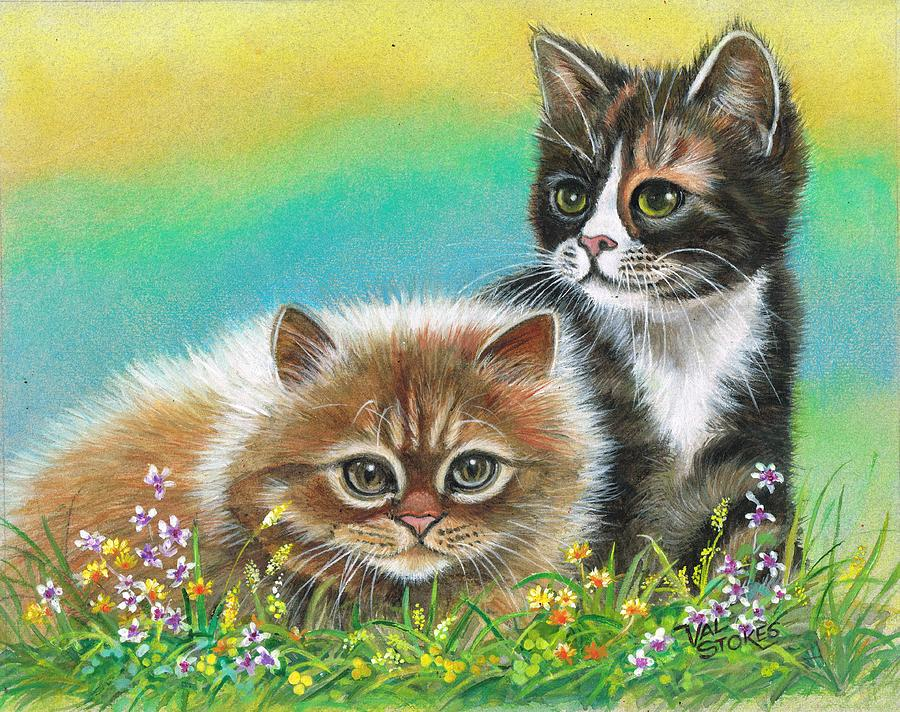 Cats Painting - Furry Friends by Val Stokes