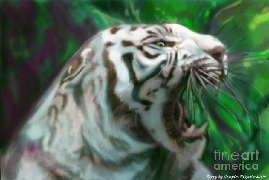 White Digital Art - Fury by Crispin  Delgado