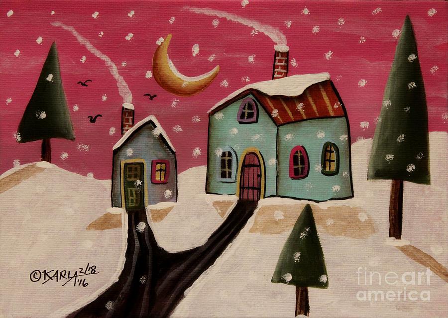 Winter Painting - Fuschia Sky by Karla Gerard