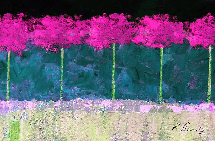 Abstract Painting - Fuschia Trees by Ruth Palmer
