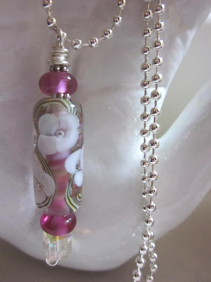 Handmade Lampwork Beads Jewelry - Fuschia With White Flower Necklace by Janet  Telander
