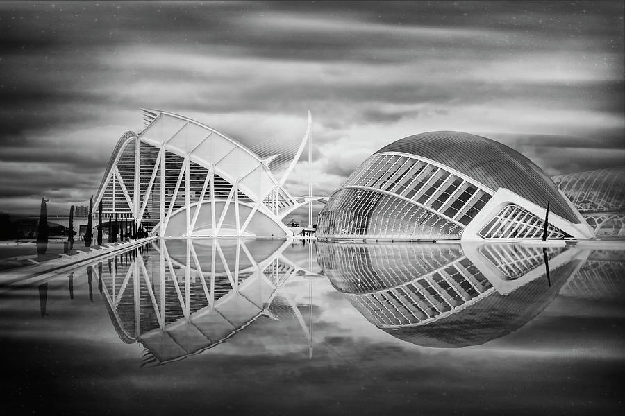Valencia Photograph - Futuristic Architecture Of Modern Valencia Spain In Black And Wh by Carol Japp