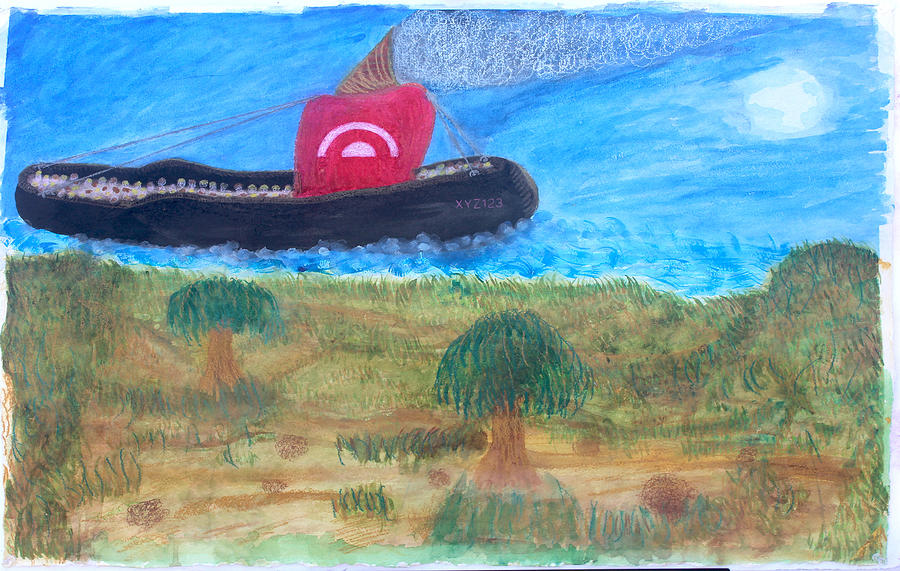 Water Color Painting - Futuristic Slave Ship Of North Island Slaves by Sirron Kyles