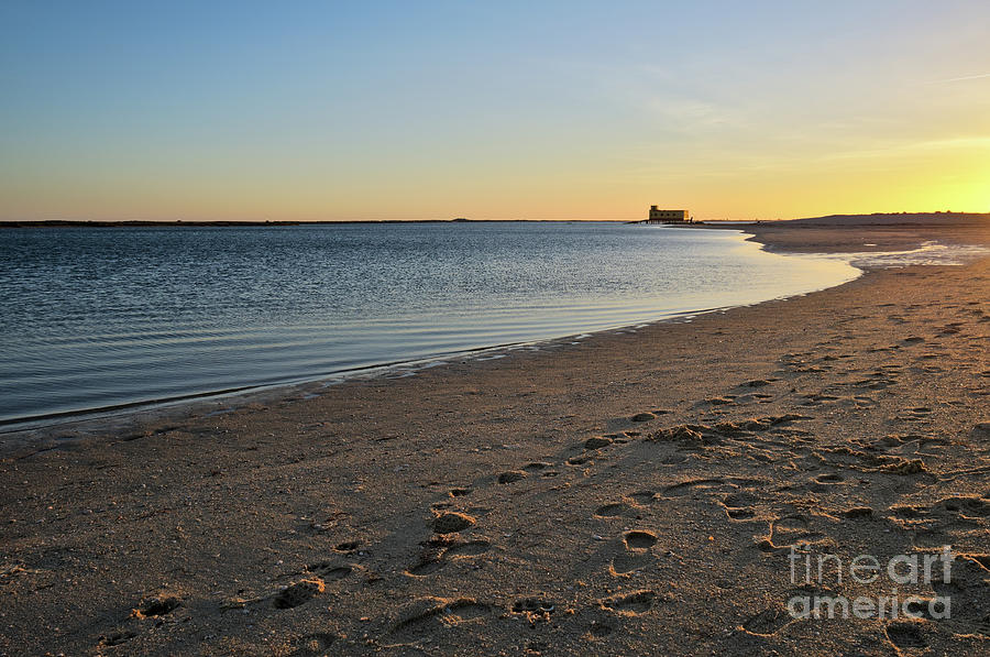 Olhao Photograph - Fuzeta Beach Sunset Scenery. Portugal by Angelo DeVal
