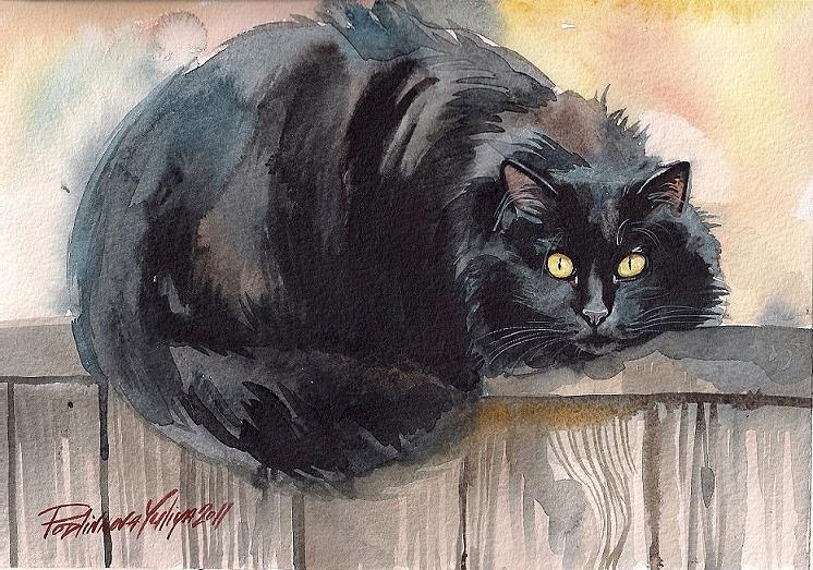 Fuzzy Black Cat Painting By Yuliya Podlinnova