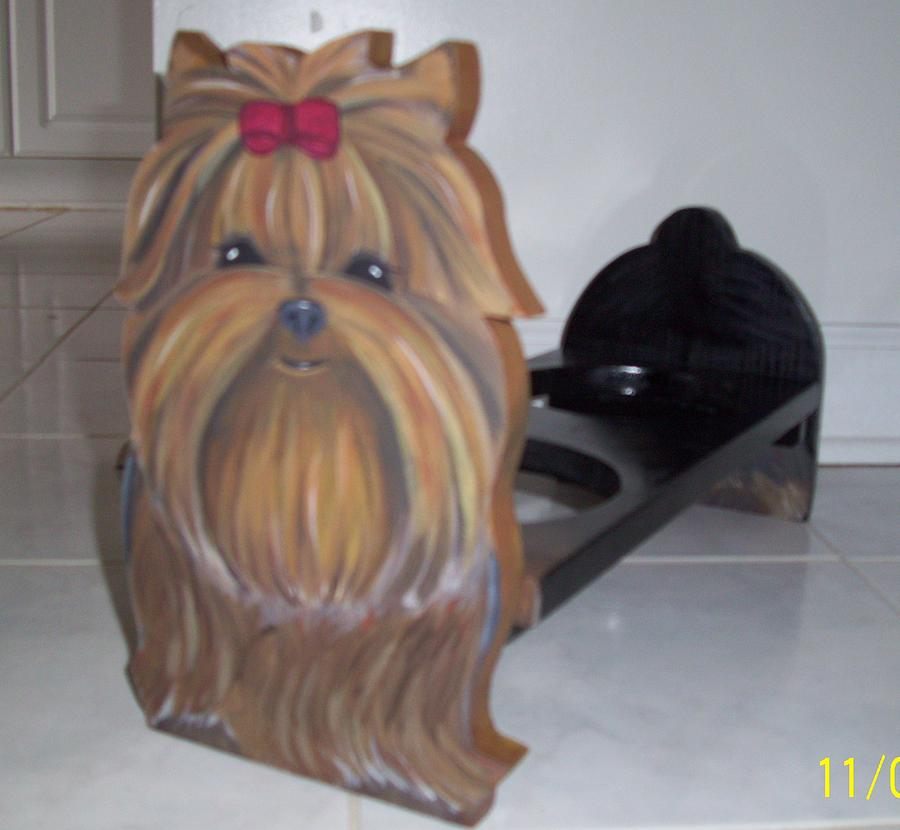 Dogs Mixed Media - Fuzzy Faces Yorkie Doggie Diner by Patrice Marotta