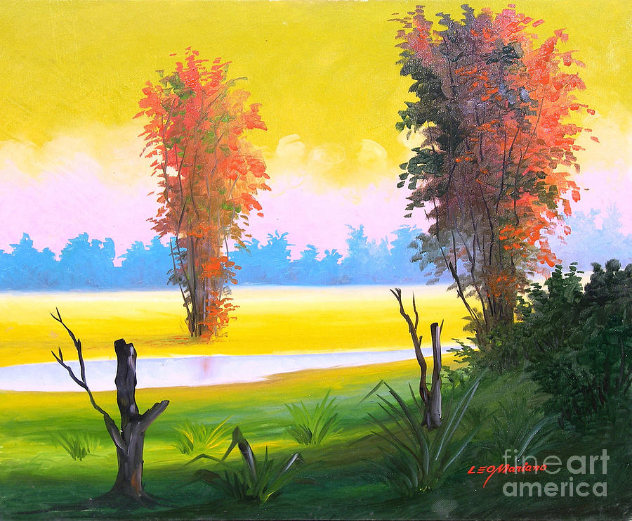 Landscape Painting - G R E E N   D A Y -  Series by Leomariano artist BRASIL