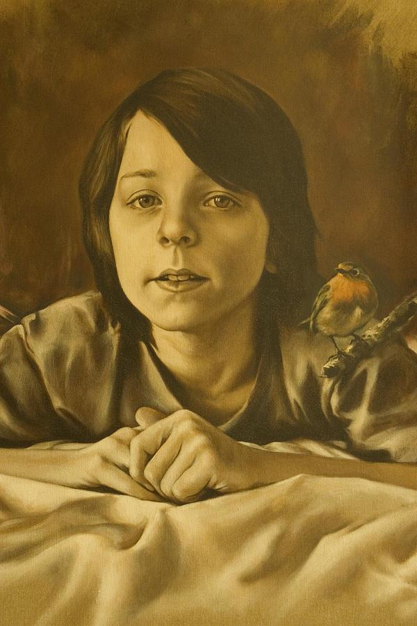 Portrait Painting - Gabriel Monotone Sketch by Tim Thorpe