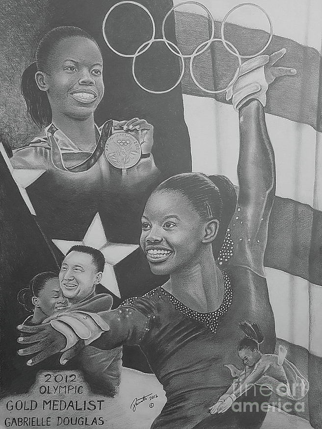 Gabrielle Douglas Drawing by Clarence Pointer