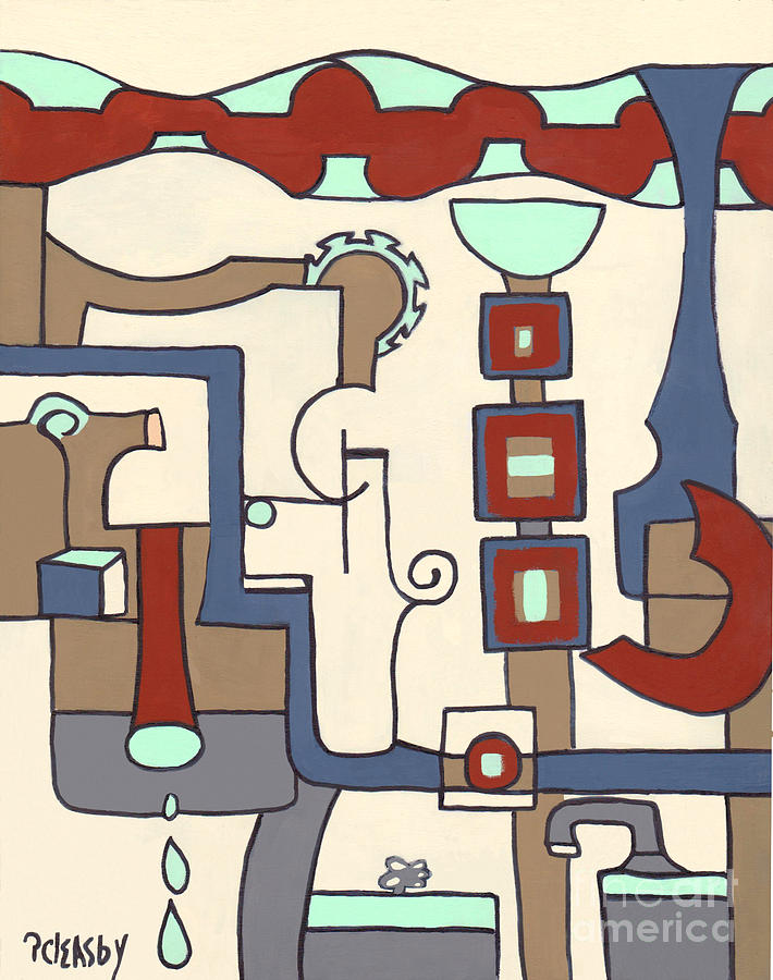 Abstract Painting - Gadgets by Patricia Cleasby