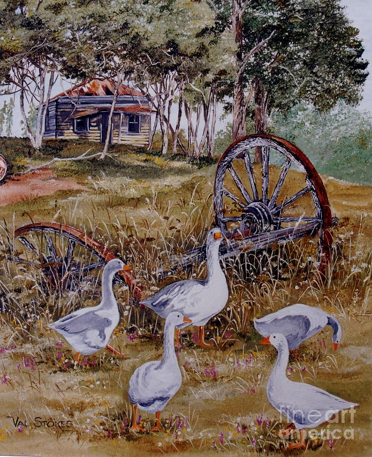 Nature Painting - Gaggling Geese by Val Stokes