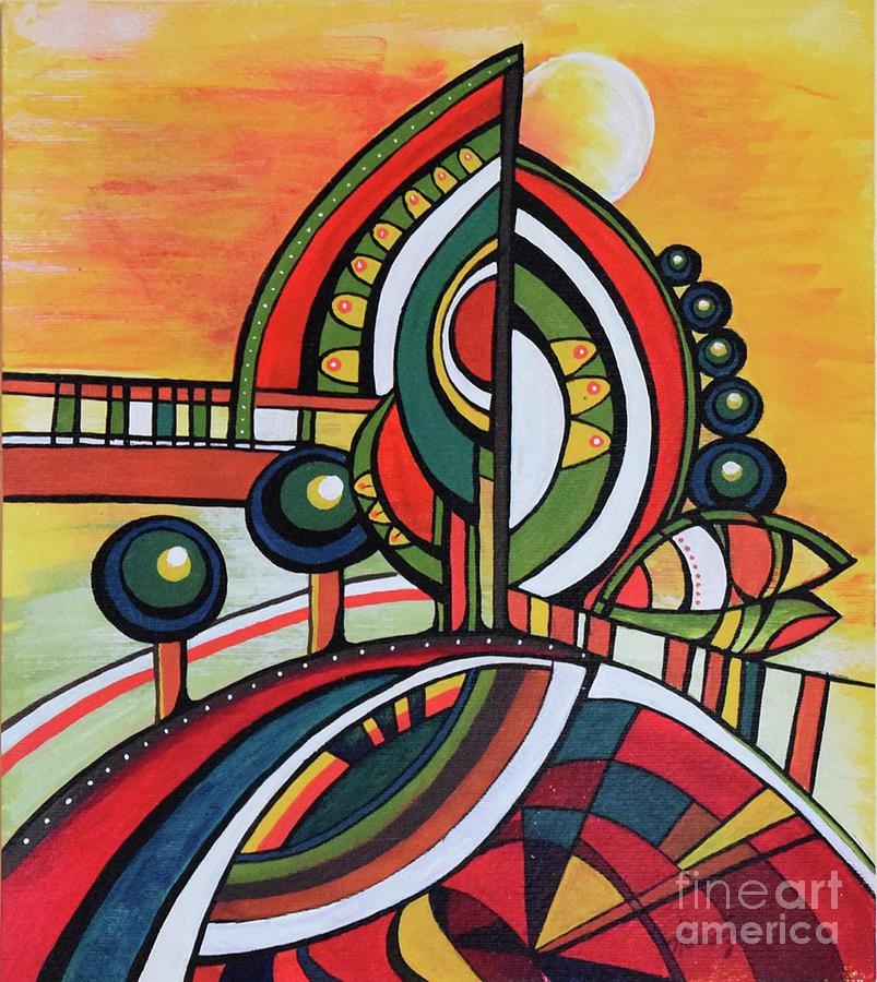 Landscape Painting - Gaias Dream by Aniko Hencz