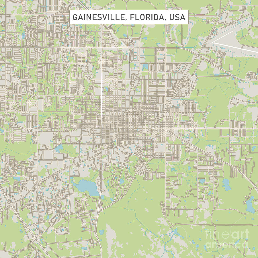 Gainesville Florida Us City Street Map Digital Art By Frank Ramspott
