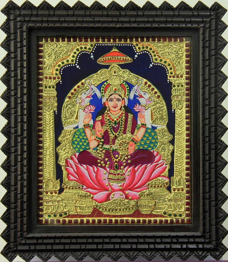 Tanjore Painting - Gajalakshmi by Sarandha D L
