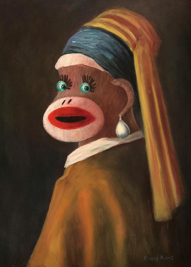 Sock Monkey Painting - Gal With A Pearl Earring by Randy Burns