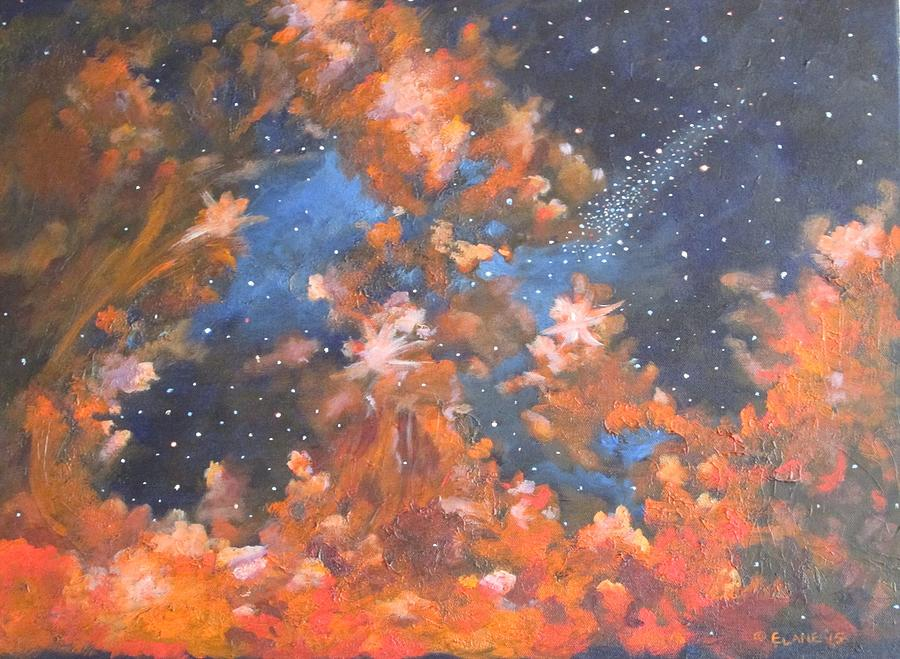 Red Clouds Painting - Galactic Storm by Elizabeth Lane