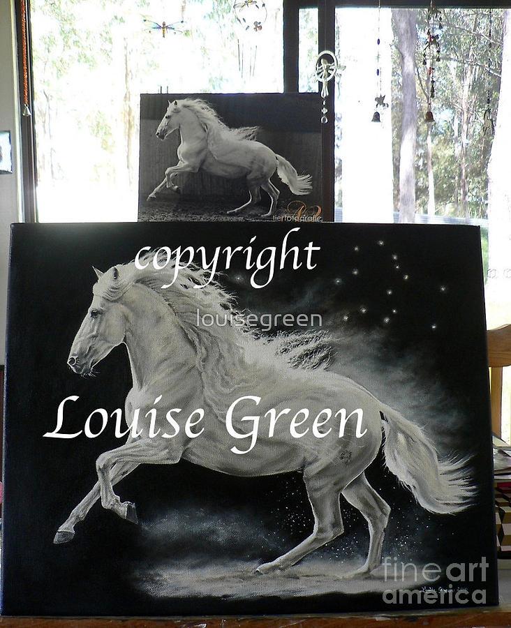 White Stallion Painting - Galan - Song Of Pegasus by Louise Green