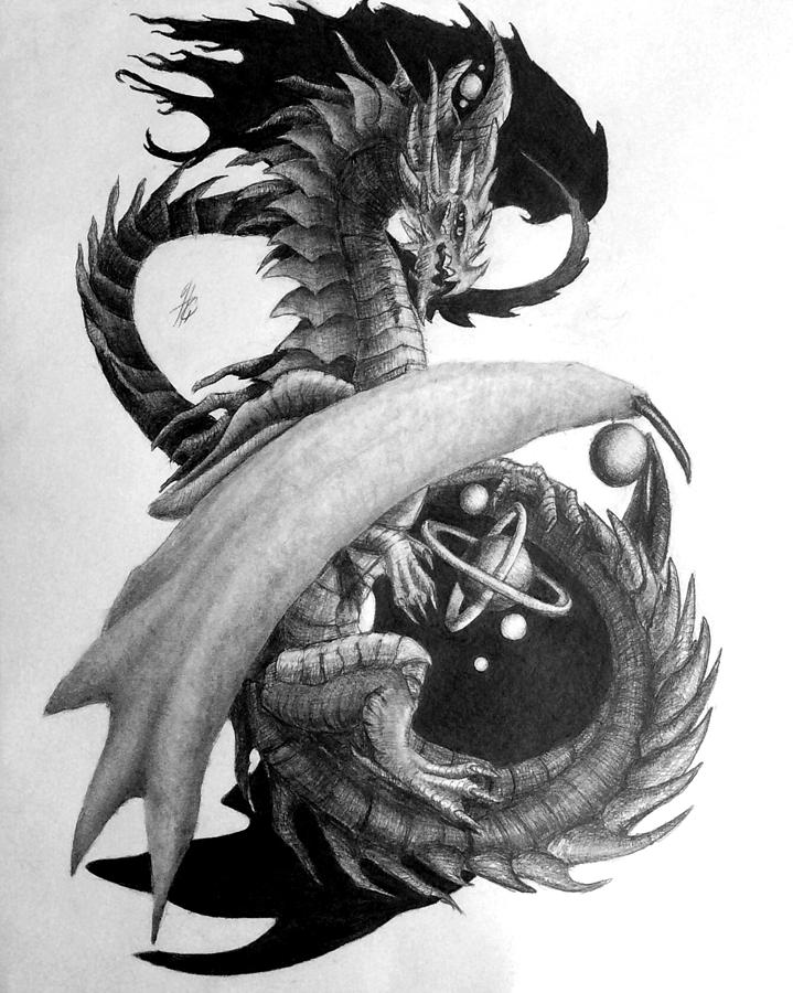 Dragon Painting - Galaxy Dragon Graphite Drawing by Hailey Carter