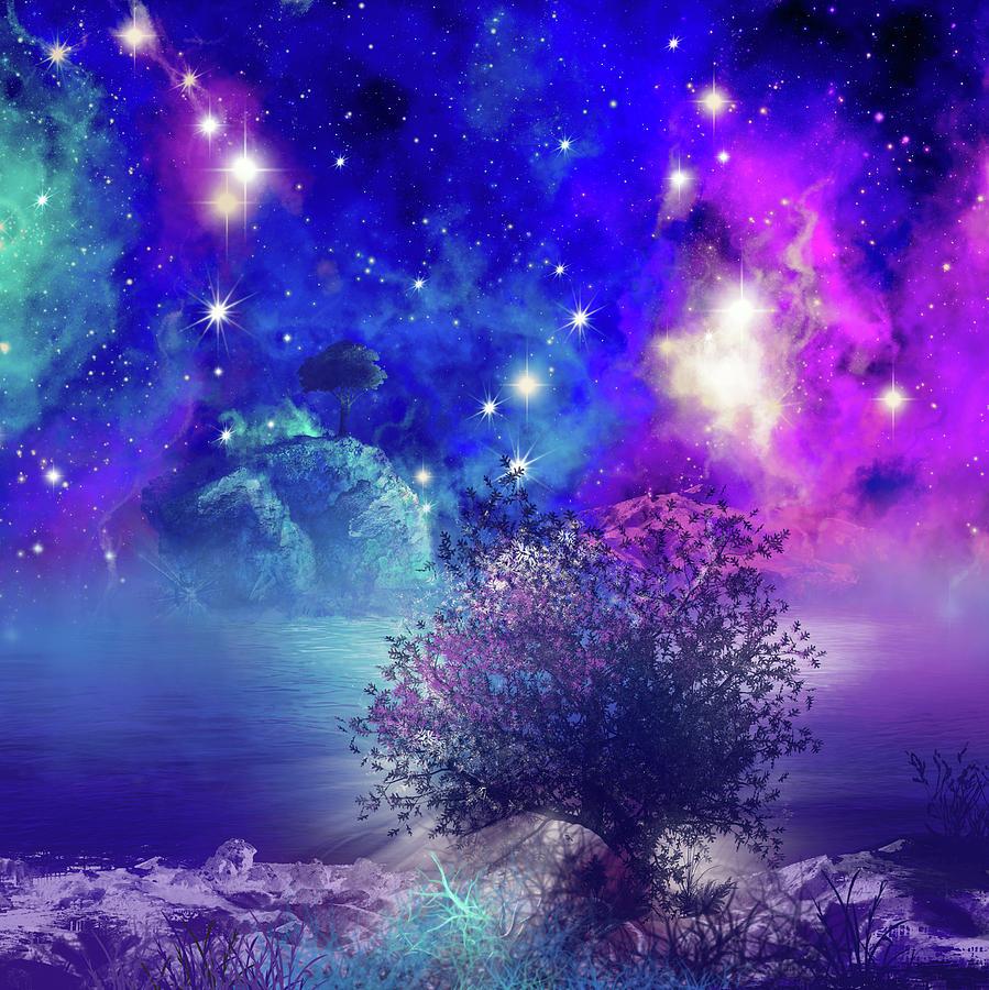 Galaxy Landscape 2 Digital Art By Bekim Art