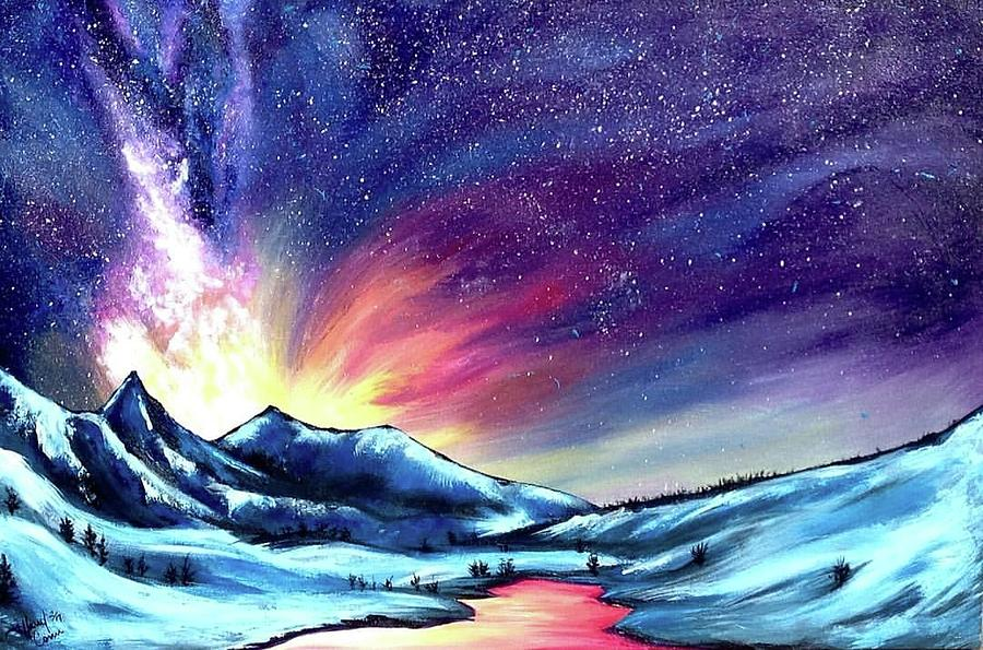 galaxy mountain painting by tiffany conn