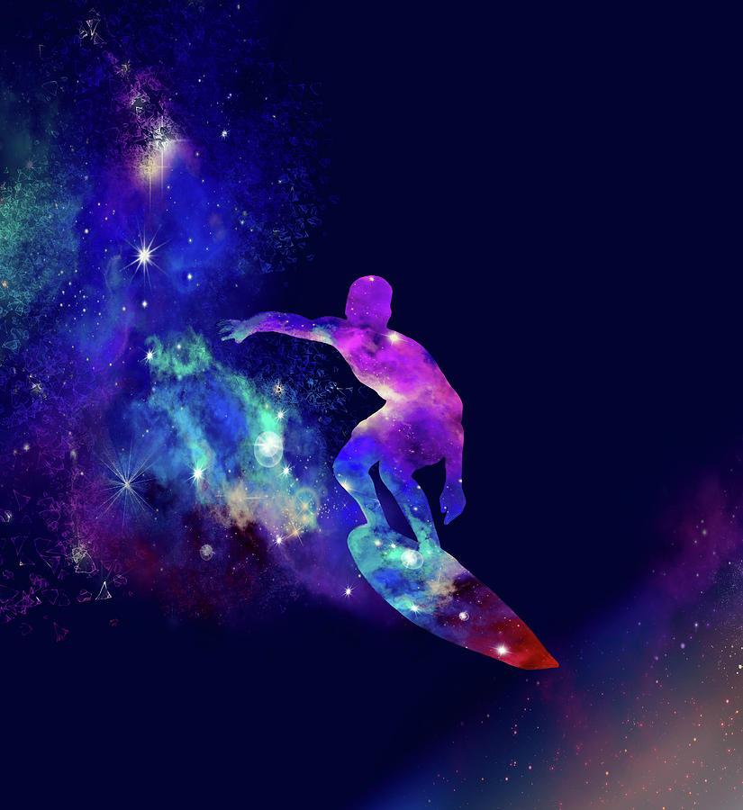 Summer Digital Art - Galaxy Surfer 2 by Bekim M