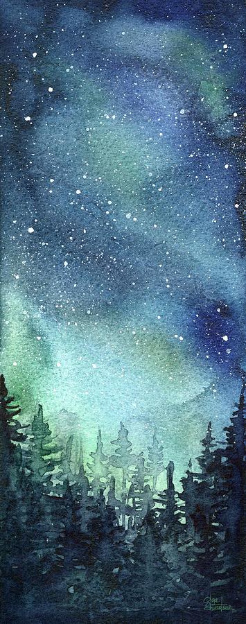 Galaxy Painting - Galaxy Watercolor Aurora Painting by Olga Shvartsur