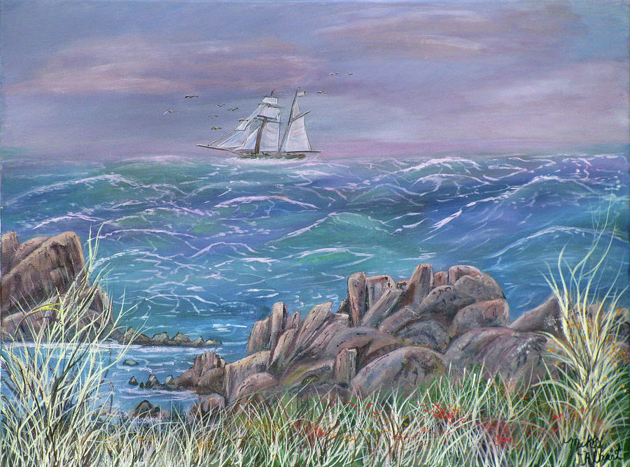 Seascape Painting - Gale In My Salie by Mikki Alhart