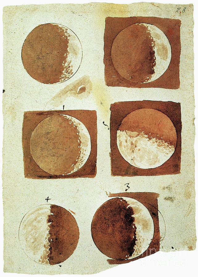 1610 Painting - Galileo - Moon by Granger