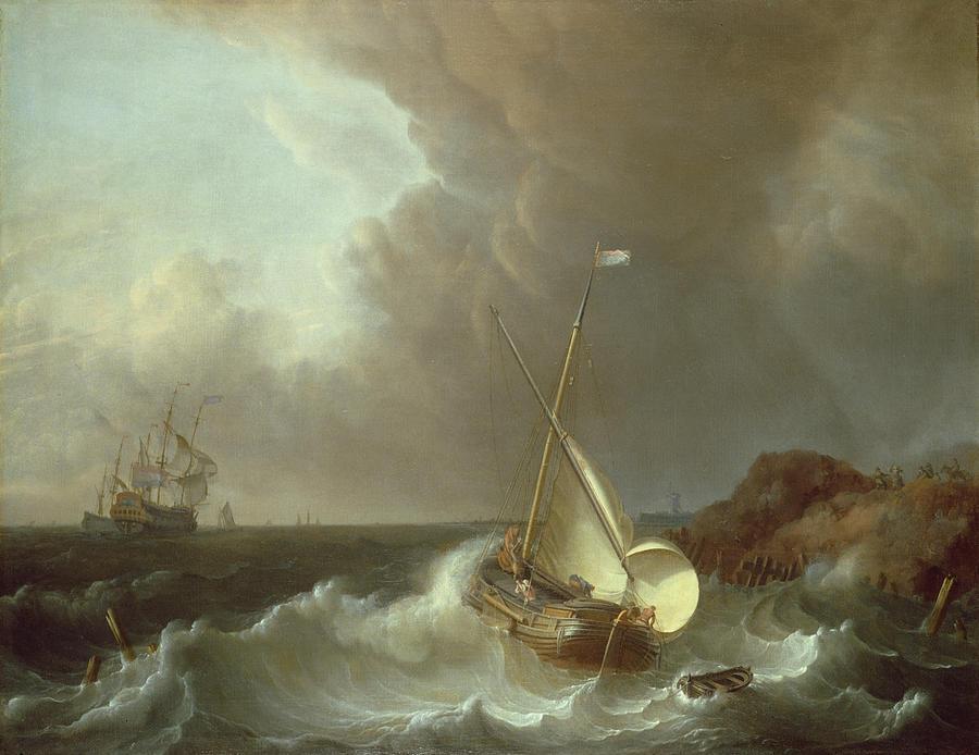 Galleon Painting - Galleon In Stormy Seas   by Jan Claes Rietschoof