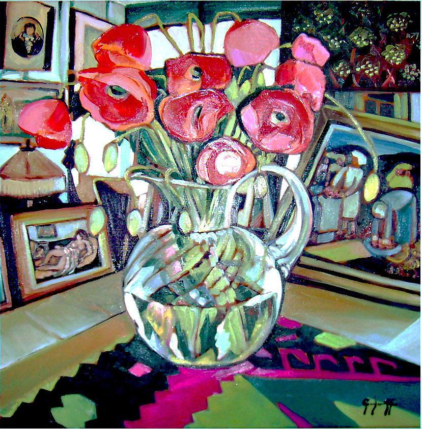 Poppies Painting - Gallery Art   Franceza Str. 30 by Luminita Feodoroff