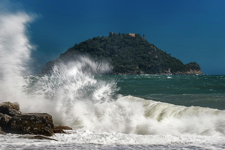 Liguria Photograph - Gallinara Island Seastorm - Mareggiata Allisola Gallinara by Enrico Pelos
