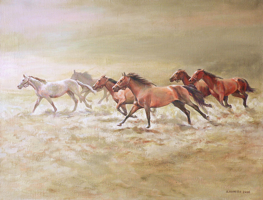 Horse Painting - Gallop3 by Andrzej Hamera